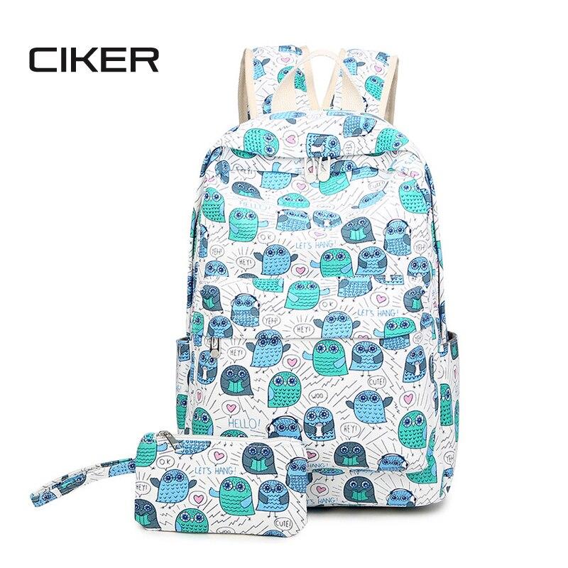 CIKER Fashion preppy style women canvas backpack for teenage girls shoulder bag 2pcs set printing backpacks