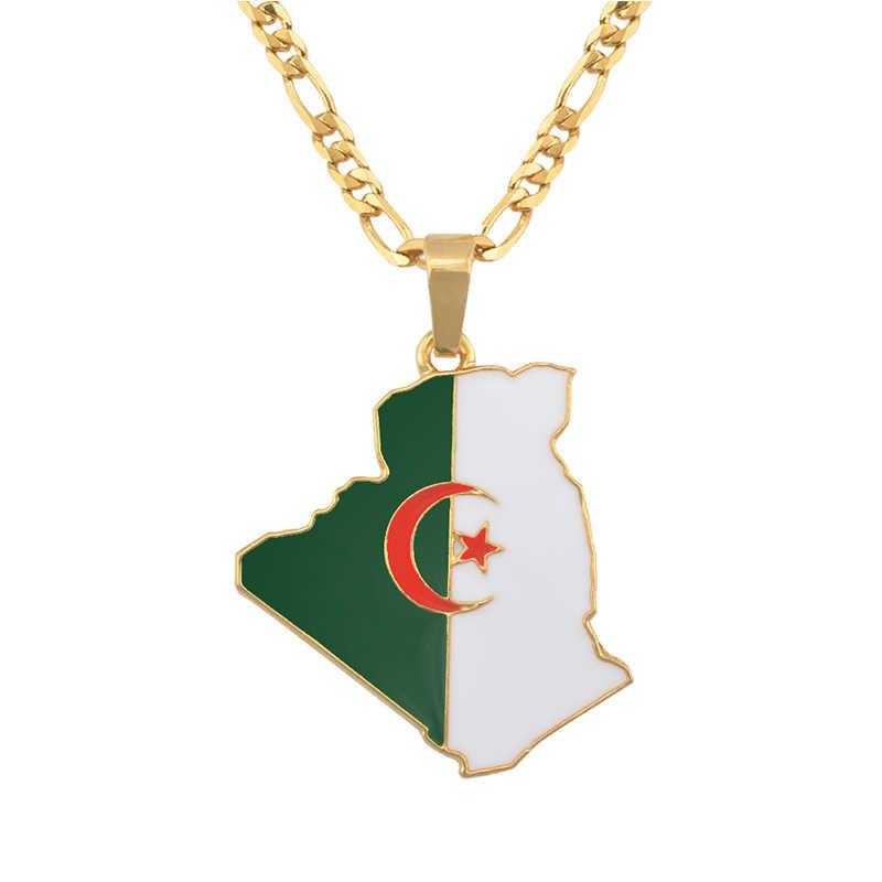 ทองสีแผนที่ธงแอลจีเรียสร้อยคอจี้สำหรับผู้ชายผู้หญิงประเทศแอลจีเรียถนน Trendy Ethnic เครื่องประดับของขวัญ # J0704