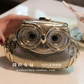 Cute Owl Diamond Metal Luxury Chain Evening Clutch Bags pochette soiree Women Party Clutches Purse L605