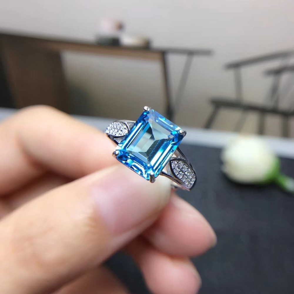 Fashion grace square pincushion Natural light blue topaz gem Ring Natural gemstone ring S925 silver women party girl JewelryFashion grace square pincushion Natural light blue topaz gem Ring Natural gemstone ring S925 silver women party girl Jewelry