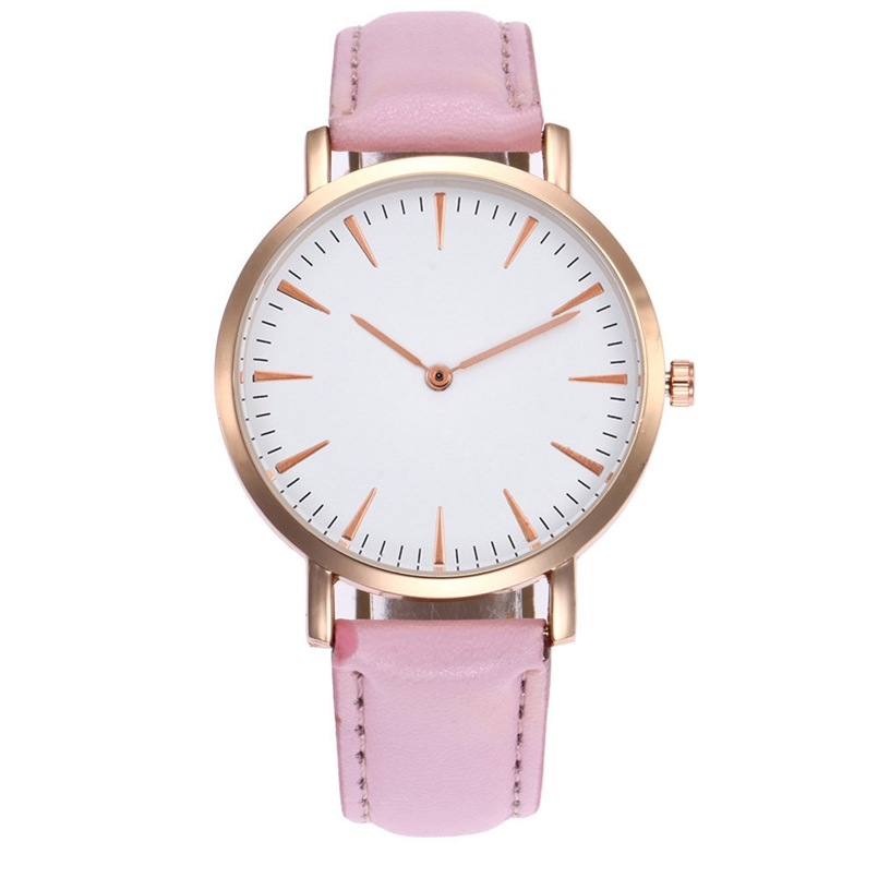 New Arrive Watch Relogio Feminino Watch Women Top Brand Luxury Watches PU Pink Leather Military Time Clock Dropship 014