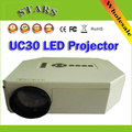 1080 P UC30 Mini Pico LLEVÓ el proyector portable HD 3d Hogar teatro Proyector AV VGA A/V USB y SD con VGA HDMI Proyector beamer