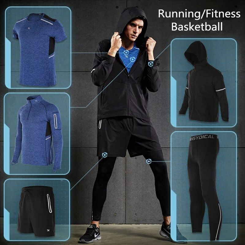 Running Running Sets Special Section Vansydical Sport Suits Mens Fitness Running Set Sportswear Quick Dry Basketball Training Jogging Gym Clothes Xxxl 3/5pcs Be Friendly In Use