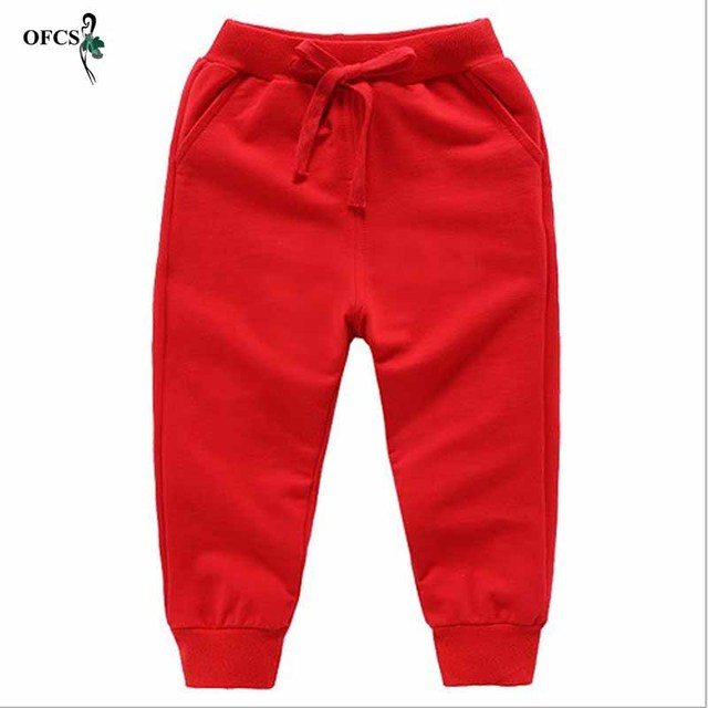 Solid Color Elastic Waist Soft Baby Pants 2