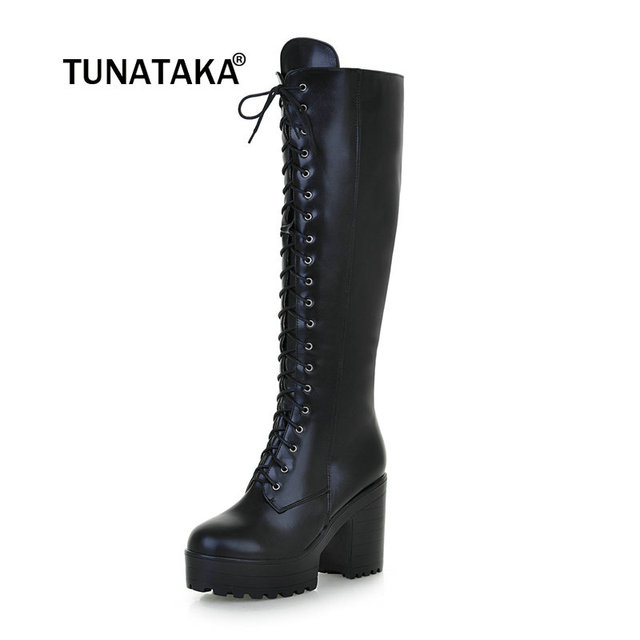 3d7e0e5814 Women's Lace Up Knee High Boots Thick Bottom High Heel Platform Combat  Boots Black Brown Blue Plus Size