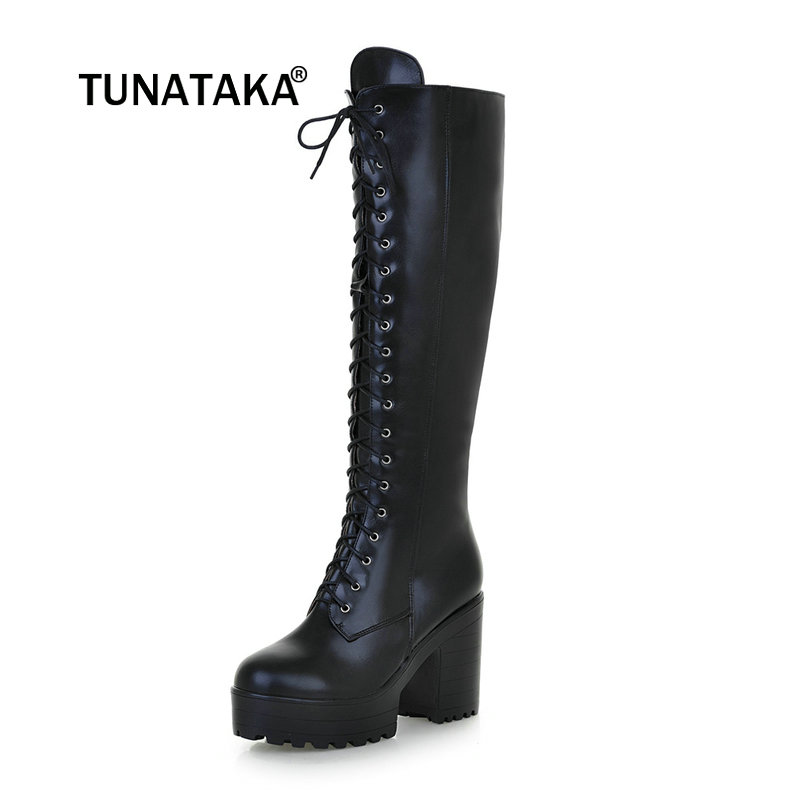 46b11af2a8a US $35.44 50% OFF|Women's Lace Up Knee High Boots Thick Bottom High Heel  Platform Combat Boots Black Brown Blue Plus Size-in Knee-High Boots from ...