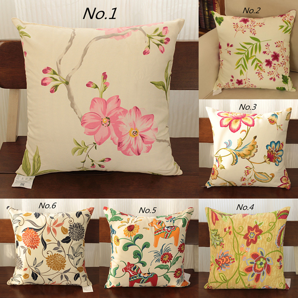 Cushion Cover Vintage Flower Pillow Case Pink Flowers Green Leaves