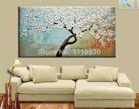 Frete Grátis Handmade Abstrata Moderna Decorativa branco Flores Desabrochando Árvores Pintura A Óleo Sobre a Arte Da Parede Da Lona Para Sala de estar