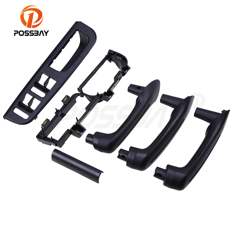 POSSBAY 6 Pcs Black Interior Door Grab Handle Cover Bracket Bezel Panel Trim for VW Golf IV 4 GTI/R32/Variant Left Side Part