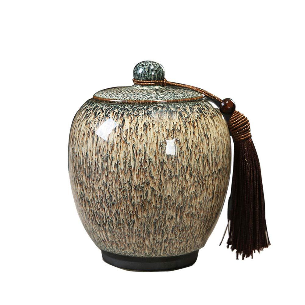 Khaki Gradient Glaze Ceramic Funeral Pet Urn for Memorials Cubic Inches of Ashes Pet Cremation Urn