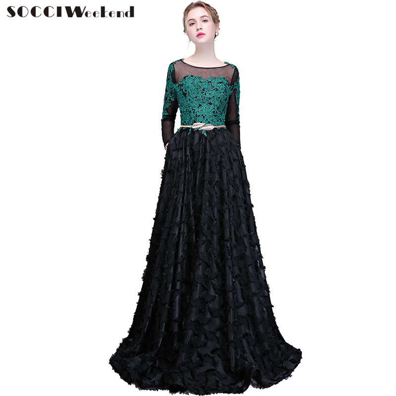 SOCCI Weekend Black Evening Dresses 2018 New Appliques Green Lace Long  Sleeves A line Banquet Dress Prom Party Vestido De Noite-in Evening Dresses  from ... c0d7d04a92dd