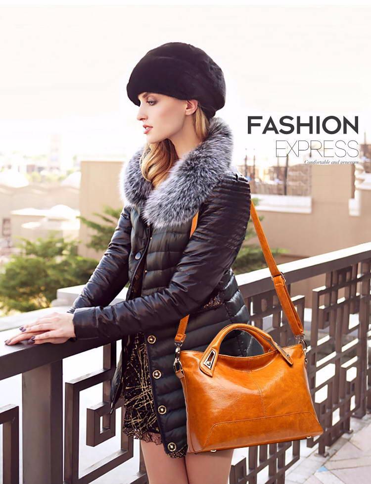 Women Oil Wax Leather Designer Handbags High Quality Shoulder Bags Ladies Handbags Fashion brand PU leather women bags WLHB1398 5