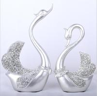 Resin Swan Couple Model Statue Figurine Home Ornaments Decor Wedding Gift Sculpture Living Room Decoration
