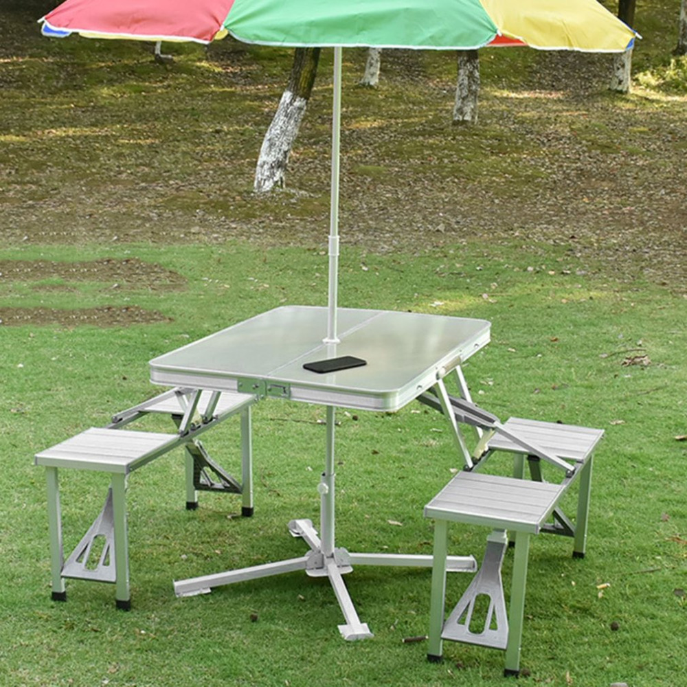 Outdoor Folding Tables And Chairs Combination Set Portable Lightweight For Picnic BBQ Camping Aluminum Alloy Easy Fold Up 10pcs outdoor hiking portable folding the rain and sun lightweight silver aluminum pet film first aid tent