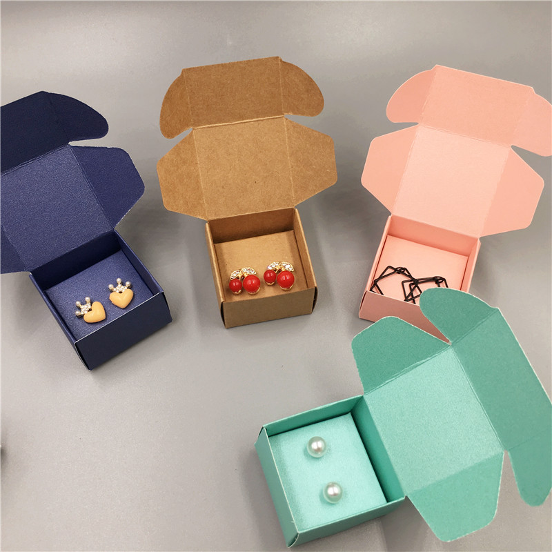 Colorful Cardboard 4x4x2.5cm Small Earring Jewelry Packaging Easy Carries Box, Diy Design Blank Kraft Gift Favor Box