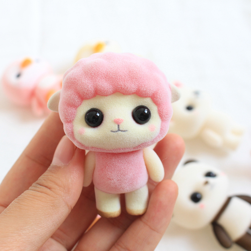 PVC Flocking Doll Toys Kawaii Mini Pink Sheep Decoration Toys For Girls Exquisite Dolls Best Christmas Gifts For Girls 31cm handmad chinese costume dolls fairy peacock 12 jointed moveable bjd 1 6 princess doll girls christmas gifts toys decoration