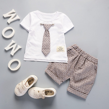 Newborn baby boys tie style clothing set casual t-shirt+ short pants 2pcs