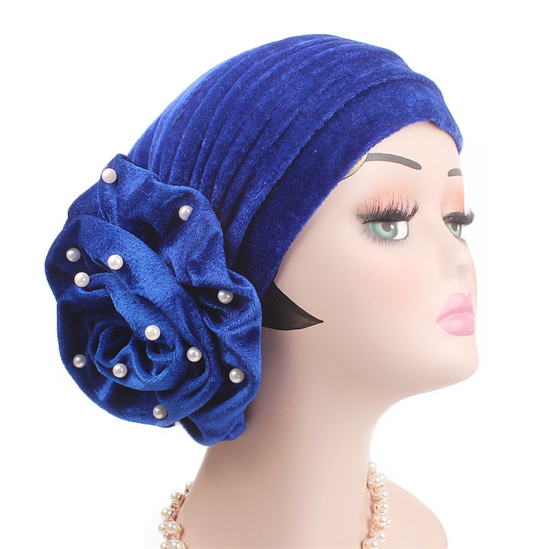 Fashion Pearls Beaded Flower Velvet Turban Women Bonnet Hair Loss Cap Muslim Turbante Party Headwear Hair Accessories