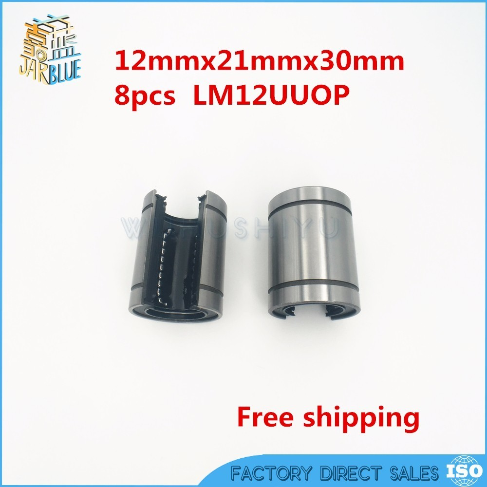 8pcs/Lot Free shipping LM12UUOP 12mm Open Type Linear Ball Bearing 12x21x30 mm Linear Bearing Bushing Linear Motion Bearing