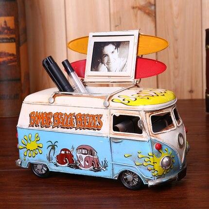 Creative groceries Volkswagen bus car photo frame pen holder Coffee shop home accessories retro nostalgic ornaments