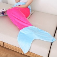 Solid Pattern Mermaid Blanket For Babies and Adult Coral Fleece Mermaid sleeping bag two sizes Air conditioning blanket