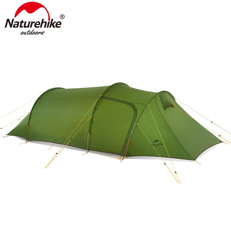 Naturehike 3 Pessoas Barraca de Camping Ultralight Opalus Túnel Tenda 20D/210 T Tecido da Barraca de Acampamento Barraca Da Família NH17L001-L