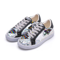 2019 Spring Autumn New Sequins Korean Version Star Casual Shoes Comfortable Children's Shoes Soft Soles Casual Girl's Shoes