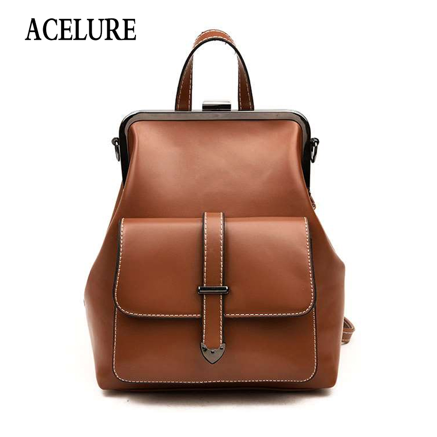 ACELURE Vintage Leather Backpacks Female Travel Shoulder Bag Mochilas Women Backpack Large Capacity Rucksacks For Girls Dayback