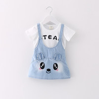 New Spring Autumn Baby Girls Dress Floral Cat Infant Princess Dress Casual Short Sleeve Kids Jeans