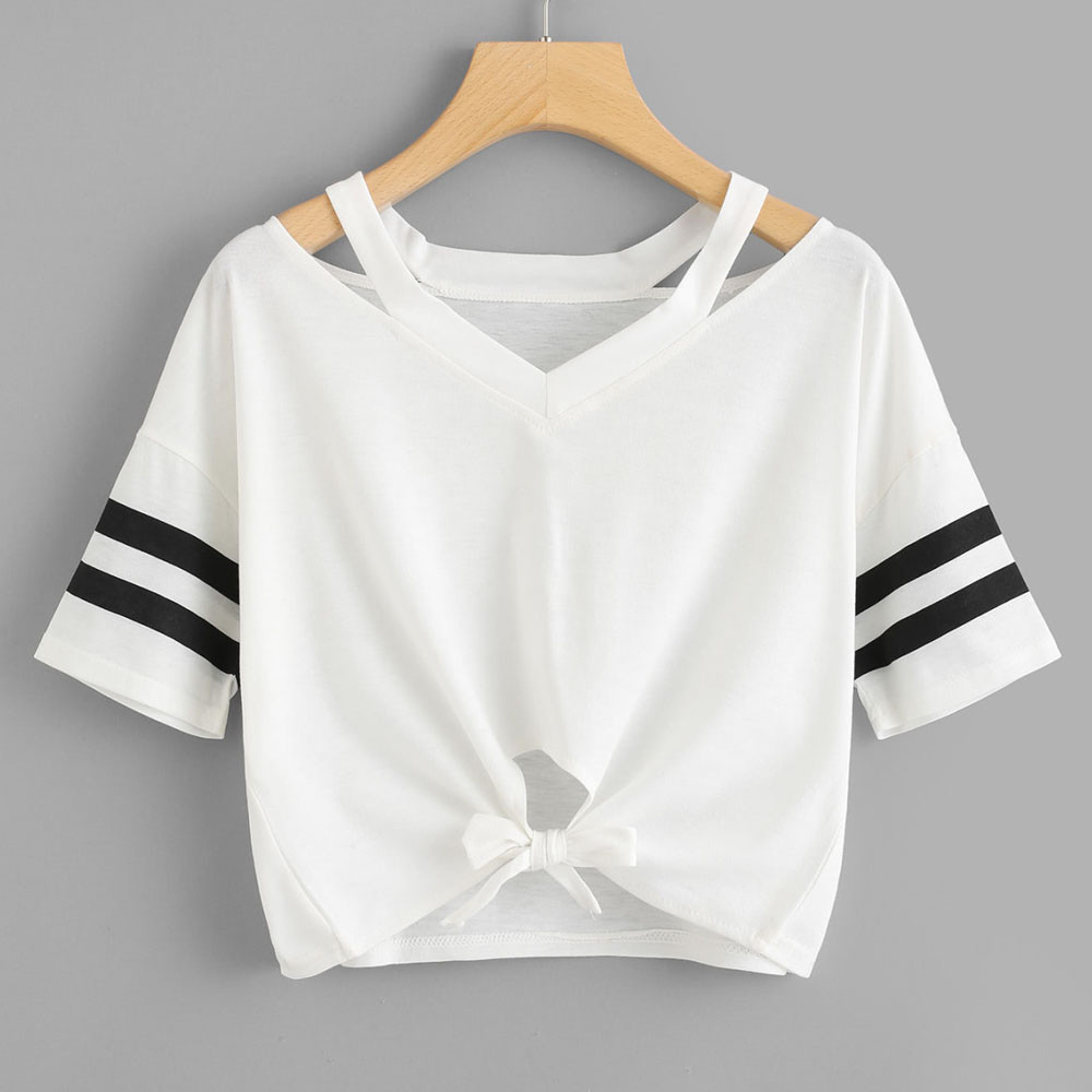 Women's Clothing Conscientious Harajuku T Shirt Women Ladies Short T-shirt Striped Bandage Short Sleeve Round Neck Casual Tops Summer Casual Fashion 2019#g8 T-shirts