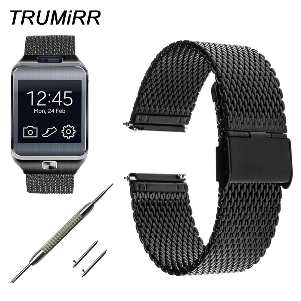 22mm Milanese Watch Band Quick Release For Samsung Gear 2 R380 Neo R381 Live R382 Moto 360 2 46mm Stainless Steel Strap Bracelet