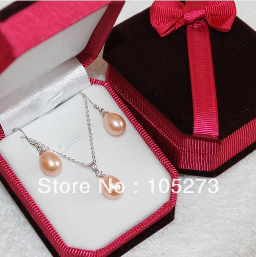 Wholesale Mothers Day Gift Jewelry Set Genuine Freshwater Pearl Pendant Earrings 9-10mm Pink Color Natural Pearl JewelryWholesale Mothers Day Gift Jewelry Set Genuine Freshwater Pearl Pendant Earrings 9-10mm Pink Color Natural Pearl Jewelry