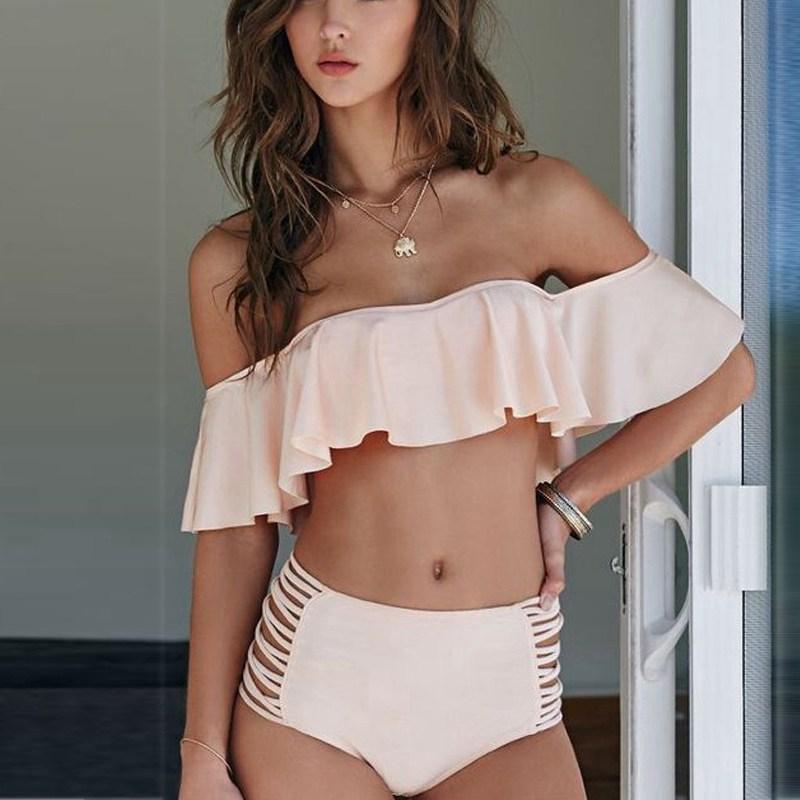 Vertvie 2018 Sexy Swimwear Women Off Shoulder Bikini Set Ruffle Swimsuit High Waist Strapless Beach Wear Bandeau Biquini Bandage 1