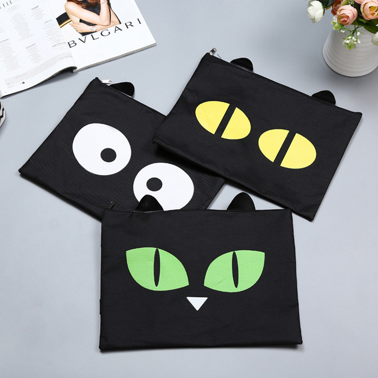 Cute Cat A4 Bag  Fabric File Folder For Documents Stationery 32*24cm Document Bag School Suppliers