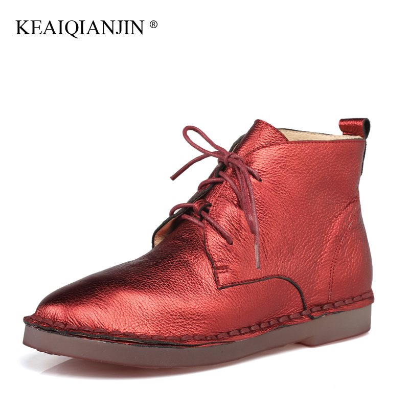 KEAIQIANJIN Woman Genuine Leather Ankle Boots Silvery Red Lace-Up Plush Boots 2017 Autumn Winter Fashion Flat With Oxford Shoes nixon часы nixon a425 1779 коллекция time teller