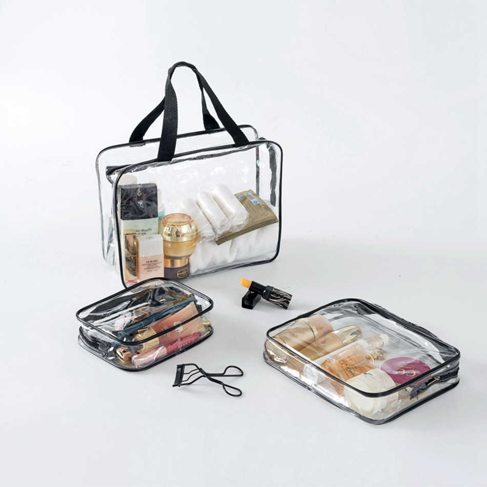 3 Set Transparent Women Travel Cosmetic Bags PVC Clear Makeup Bags Organizer  Beauty Case Toiletry Bag Bath Wash Make Up Case pvc transparent wash portable organizer case cosmetic makeup zipper bathroom jewelry hanging bag travel home toilet bag
