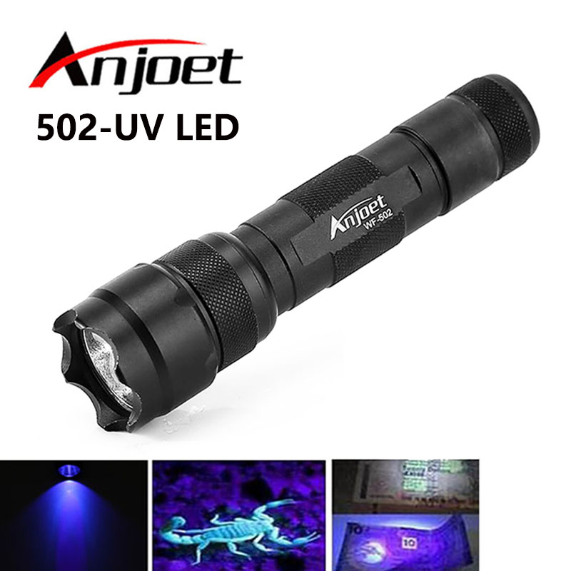 Anjoet 502B 800 Lumen WF-502B UV Violet LED Aluminum Flashlight Torch Purple Light 395nm Ultraviolet Lamp For 18650 Battery цены