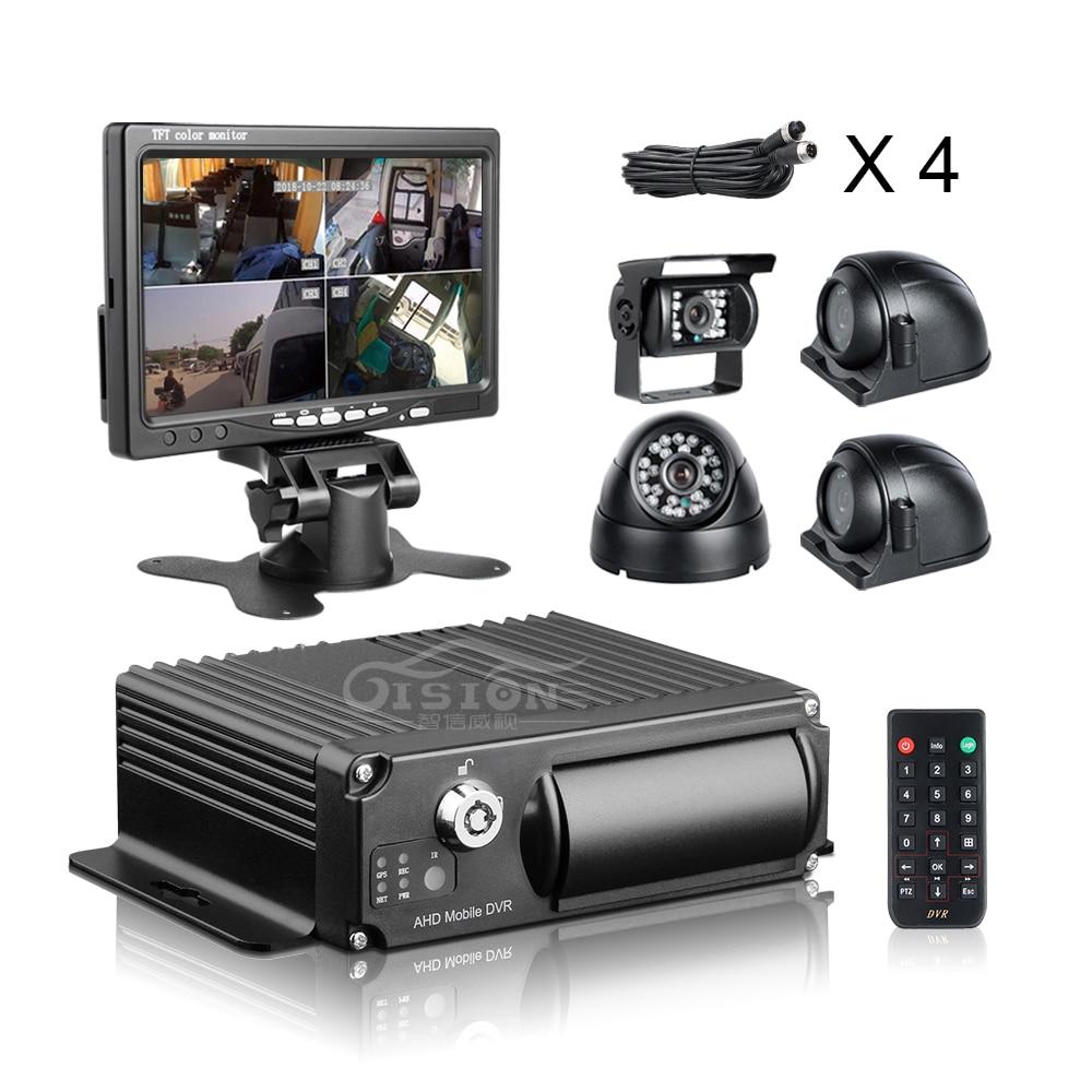 4Pcs 2.0MP Car Camera 4CH AHD SD Card Mdvr Vehicle Car Dvr Recorder +7Inch Car Monitor +32G SD For CCTV Surveillance System