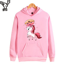 BTS Unicorn Hooded Sweatshirts Women Pink Cartoon Women Hoodies Sweatshirts Brand All Match Long Sleeve Fashion