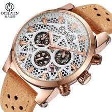 Marca de lujo Reloj Hombre Cronógrafo deportivo de cuero del Ejército de Los Hombres de Cuarzo militar Reloj de pulsera de Moda casual relojes relogio masculino