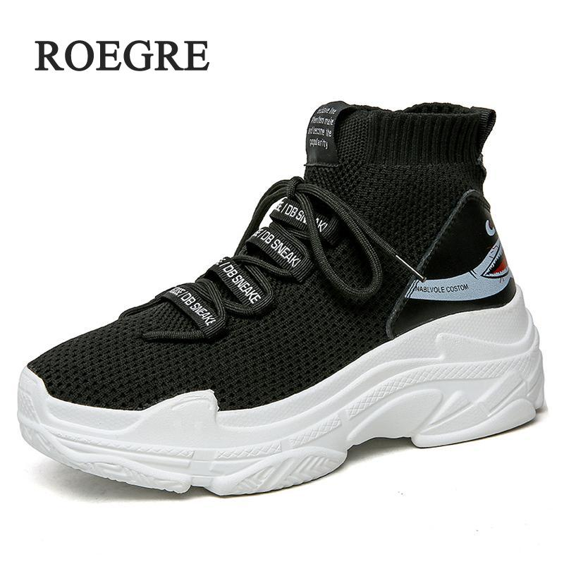 Shark Logo High Top casual shoes Women Knit Upper Breathable Sock Shoes Thick Sole 5 CM Fashion sapato feminino Black / White