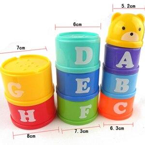 Image 5 - 8PCS חינוכיים תינוק ילד תינוקות צעצועי 6 חודש + דמויות מכתבי Foldind סטאק כוס מגדל ילדים מוקדם מודיעין