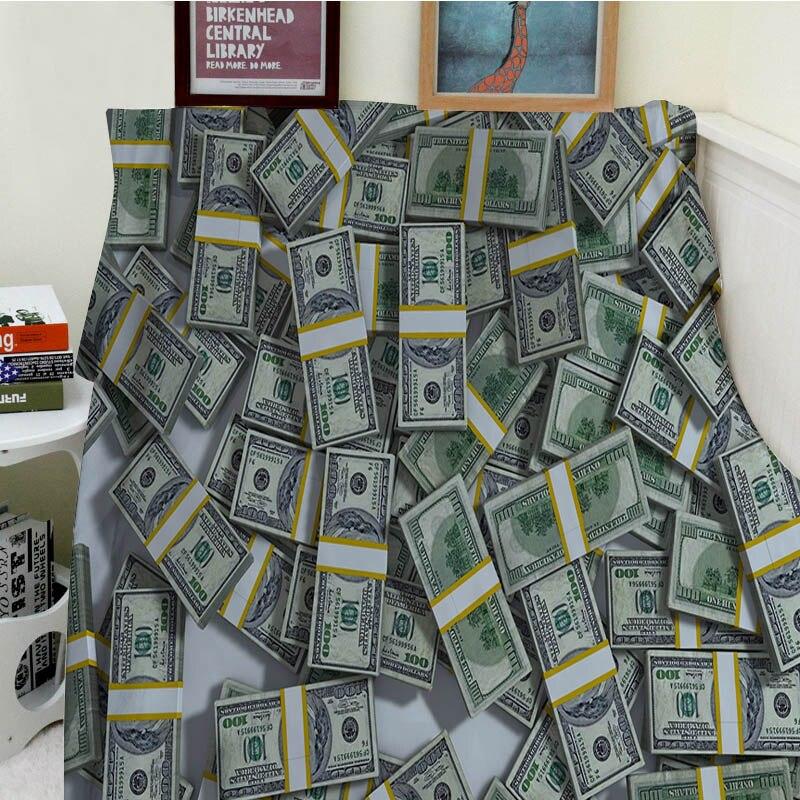 Super doux couvertures en peluche lavage en Machine milliards de Dollars beaucoup d'argent canapé-lit jeter Cobertor enfants adultes plage