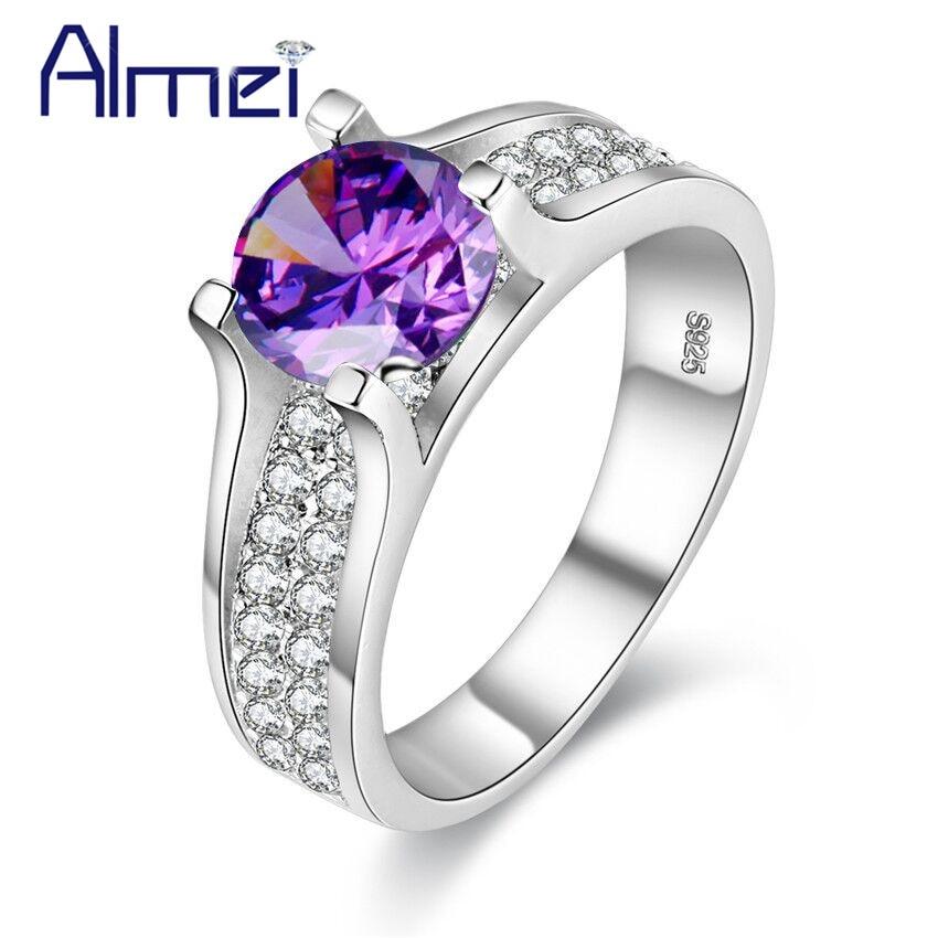 e19d2fbf7c Almei Vintage Jewelry Ring With Pink Blue CZ Zircon Jewellery Anel Feminino  Luxury Crystal Rings For Women Best Gifts Girls Y006