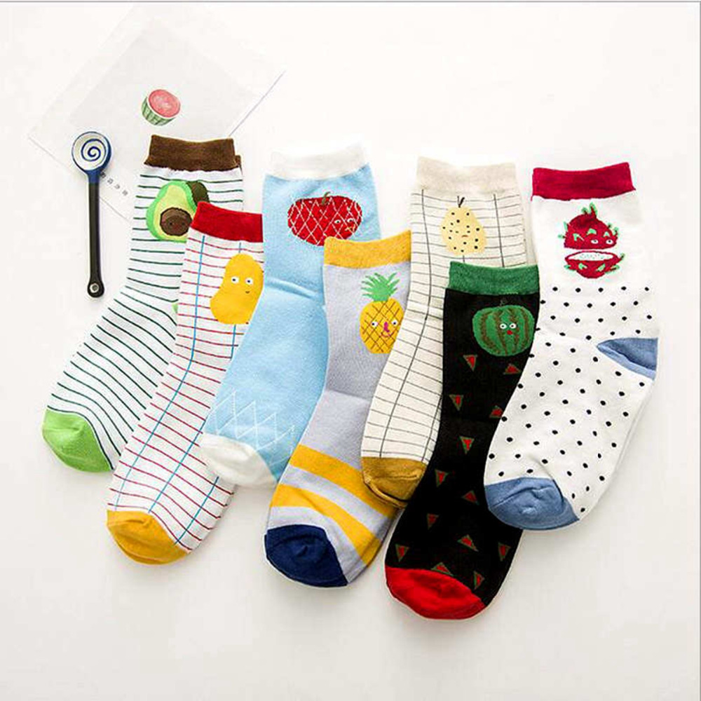 2017 Fahion New Fruit Pattern Pears Appl Pineapple Watermelon Multi-color Middle Tube Cotton Seasons Socks210 ...