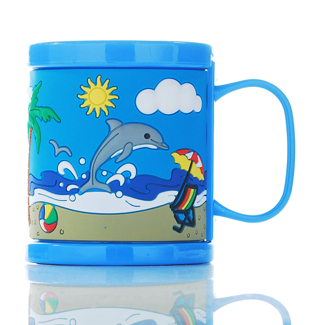 New Arrival Plastic Elegant Coffee Mugs Kids Cups Blue Embossed Beach Dolphin Water Tumbler With