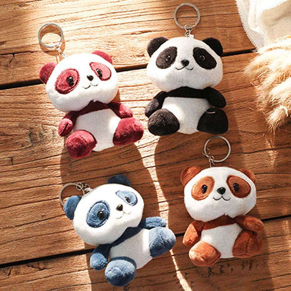 2019 New Cute Cartoon Panda Plush Stuffed Doll Toy Keychain Key Ring Backpack Ornament Room Decorations