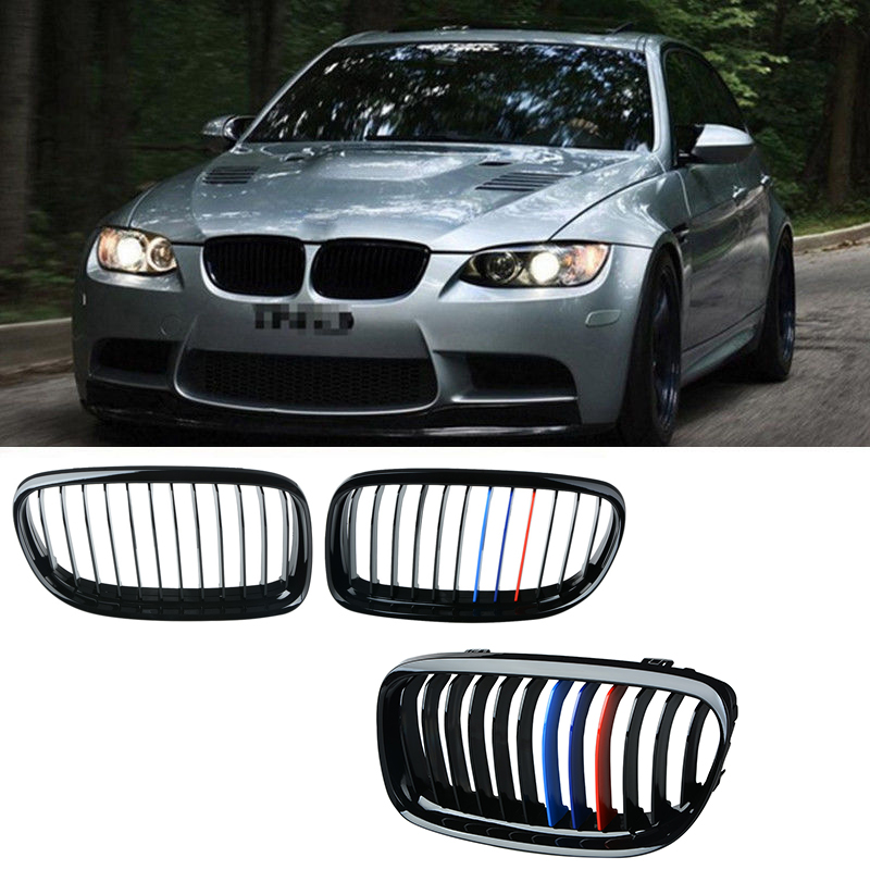 New ABS Front Matte Black Mix Color Car Racing Grill Grille For BMW E90 E91 LCI 325i 328i 3 Series 4-Doors Grilles 2009-2011 sugeryy 1 pair car style matte black 3 color front center kidney racing grilles for bmw 3 series e90 e91 2009 2011 car grille