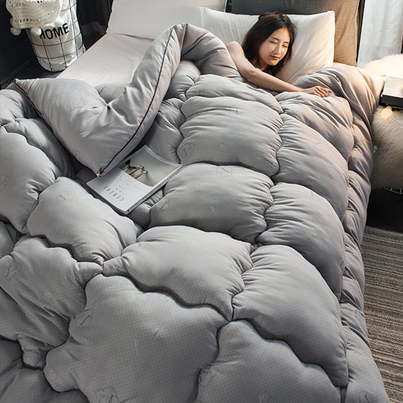 100% White Superfine Fiber Winter Quilt Comforter Polyester Blanket Duvet Filling With Cotton Cover Twin Queen King Size