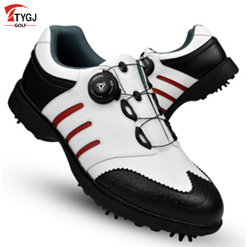 Golf Shoes Men Waterproof Convenient Comfortable Knob System Waterproof Genuine Leather Spikers Screw Locking Device Sneakers